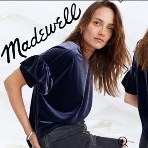 Madewell blue velvet ruffle top size small